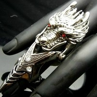 SALE OUT!!! LIMITED STOCK! TF217 Red Crystal Eye Chinese Dragon Armor Claw Ring EMO Punk Gothic Biker