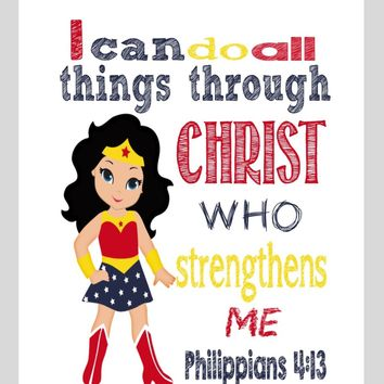 Wonder Woman Superhero Christian Nursery Decor Print - I Can Do All Things Through Christ - Philippians 4:13