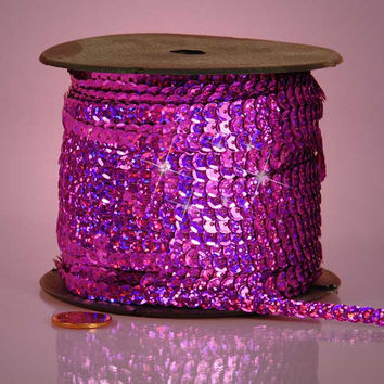 Fuschia Hot Pink Holographic Faceted Extra Sparkle String 6mm x 80 yards Sequins