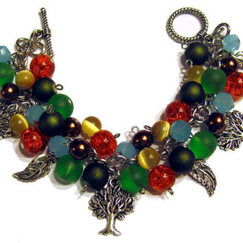 Fall Charm Bracelet Beaded Jewelry Green Brown Yellow