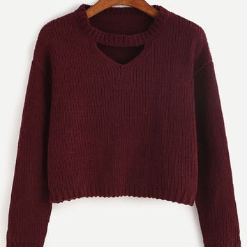 Burgundy Round Neck Cut Out Crop Sweater