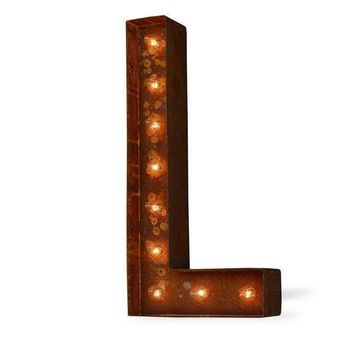 "24"" Letter L Lighted Vintage Marquee Letters (Modern Font/Rustic)"