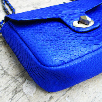 SALE -- Mini Cross Body Bag Neon Blue Python Snakeskin Leather