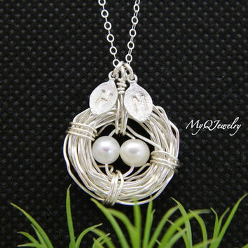 TWO initial Bird Nest Necklace, Family Necklace, Mother's Day Jewelry, Monogram Necklace, SILVER Bird nest Jewelry,Grandmother's Necklace