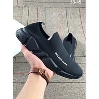 Balenciaga 2018 new couple models round head flat sole shoes F-AA-SDDSL-KHZHXMKH full black