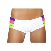 White Band Shorts | White Cut Out Shorts | Neon Rave Booty Shorts