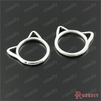 (29830-G)10 PCS 19.5*17MM Antique Silver Plated Zinc Alloy Cat Rings Charms Pendants Diy Handmade Jewelry Findings Accessories