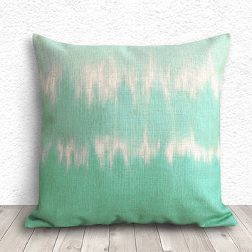 Tie Dye Pillow Covers, Pillow Cover, Pillow Cases, Decorative Throw Pillows, Mint Pillows, Linen Pillow Cover 18x18 - Printed Tie Dye - 255