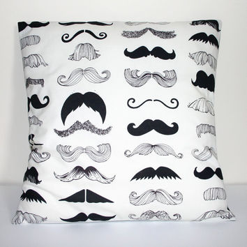 Black on Ivory Illustrated Moustache Print by MissCherriesBoutique