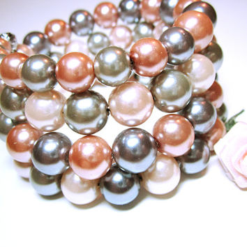 Pink Gray Pearl Cuff,  Pink Pearl Wrap, Stack Pearl Bead Bracelet, Memory Wire Cuff, Pink And Gray Pearl Beads, Wedding Wear, Gift Idea