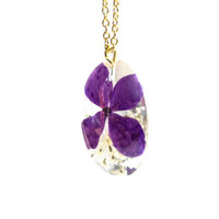 Spring flower necklace resin jewelry real flower resin pendant homemade gift nature inspired necklace