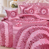 DaDa Bedding Fancy Elegant Rose Queen Satin Soft & Shiny Comforter Bed Set, Victorian Cal King - Pink, 5 Pieces (BM4576)
