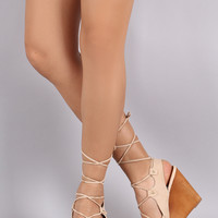 Qupid Slingback Lace Up Wooden Wedges
