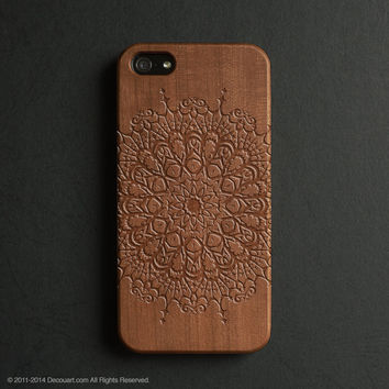Real wood engraved mandala pattern iPhone case S011