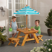 KidKraft Outdoor Table w/ Benches & Umbrella - 00506
