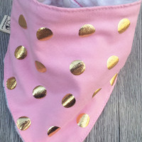 Pink and Gold Baby Bandana Bib Set of 3