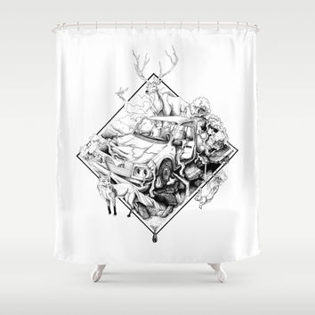 Revenge of the Nature Shower Curtain by Rafapasta