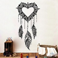 Dream Catcher Wall Decals Amulets Feather Heart Love Vinyl Sticker Boho Bedding Home Decor Bedroom Bohemian Stiskers Interior Design Art Mural MS761