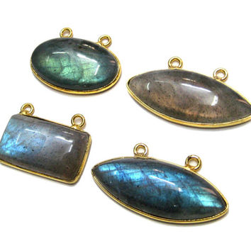 24 kt. Gold Plated Bezel Natural Labradorite Gem Stone Cabochon Connectors Flashy spectrolite stone necklace pendant findings links supplies