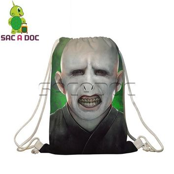 Anime Backpack School kawaii cute Harry Potter Drawstring Backpack Children School Bags Harry Death Eaters Prints Travel Softback Women Men Daily Backpacks AT_60_4
