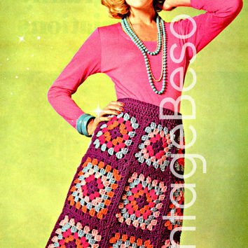 CROCHET SKIRT PATTERN  Instant Download Pdf 1970s Crochet Pattern Vintage 70s Hostess Granny Square Long Maxi Skirt Boho Bohemian Clothing