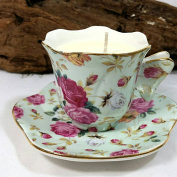 Rode Chintz Gracie China Miniature Floral Teacup Soy Candle/Upcycled Teacup Candle/Coastline Imports Teacup/Soy Wax Candle Teacup/Gardenia
