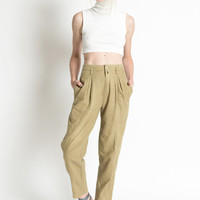 Vintage 90s Khaki Cotton High Waist Trousers with Pleated Waist | S