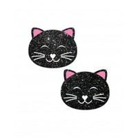 Black Glitter Happy Kitty Pasties