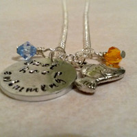 Finding nemo Dory quote hand stamped necklace Just keep swimming