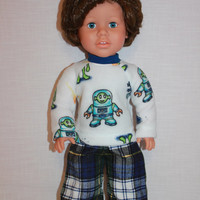 18 inch boy doll clothes, graphic print baseball style pajama top, plaid pajama pants, space, aliens