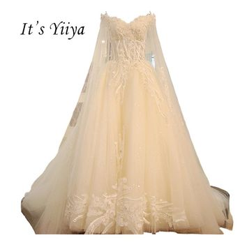 It's YiiYa 2018 New White Illusion Sexy Luxury Beading Flowers Embroidery Wedding Dresses High Grade Train Bride Dress XNE026