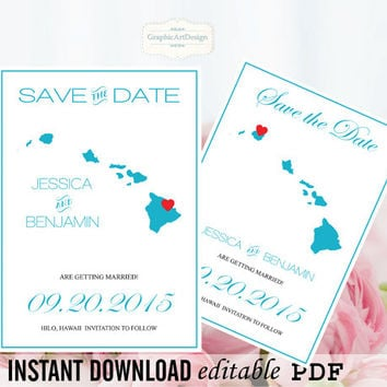 Hawaii State Map Save the Date Editable PDF Templates - Hawaii Sky Blue State Map Save the Date Printable - Instant Download - DIY You Print
