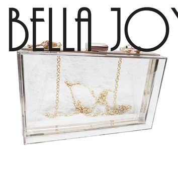 BELLA JOY New Acrylic Transparent Women Clutch Bag Chain Luxury Brand Women Messenger Bag Evening Bag Handbag Chain Shoulder Bag