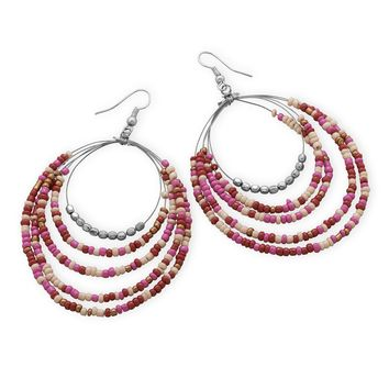 Five Row Pink Graduated Drop Large Fashion Earrings