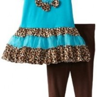 Rare Editions Little Girls' Cheetah Tutu Leg Set Toddler, Turquoise/Black, 3T
