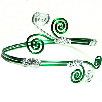 Arm Band, Arm Bracelet, Arm Cuff, Green and Silver, Aluminum, Unique Jewelry by thecuriouscupcake on Etsy