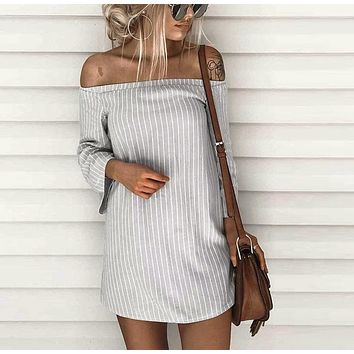 Women Striped Dress Sexy Off Shoulder Slash Neck Mini Dress Casual Beach Dress Robe Femme 2017 Summer New Arrival  #L
