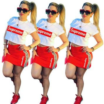 Supreme Womans Short Sleeve Top High Waist Skirt Set Two Pieces