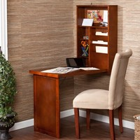 Southern Enterprises Wall Mounted Convertible Writing Desk - Walnut - Walmart.com