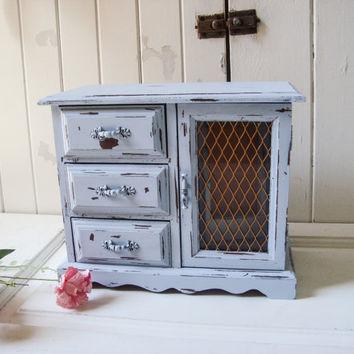 Grey Vintage Jewelry Box, Paris Grey Wooden Jewelry Holder, Light Gray Blue Jewelry Chest, Shabby Chic, Cottage Chic, Gift Ideas