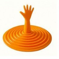 ORANGE Drowning HAND reaching for HELP rubber VORTEX plug SINK drain stopper
