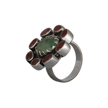 Sterling Silver Ruby Ring,Red Gemstone Ring,Green Ruby Ring,Handmade Ring,Floral Ring,Christmas Gift,Gift for Her,Antique Ring,Silver Ring