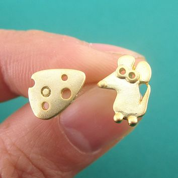 Cute Mouse and Swiss Cheese Shaped Stud Earrings
