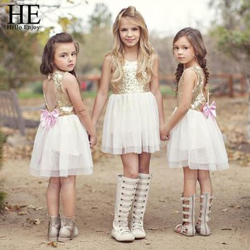 HE Hello Enjoy Girls Dress Summer Sequins Golden Backless Bow Dress Kids clothes Brand Princess Wedding Dresses Children Dress