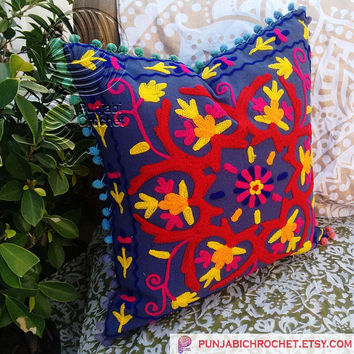 Indian Wool Hand Embroidered Cushion Cover Accent Pillow Cases Suzani Cushions Home Decor Decorative Pillow Cotton Canvas Bright colored 16""