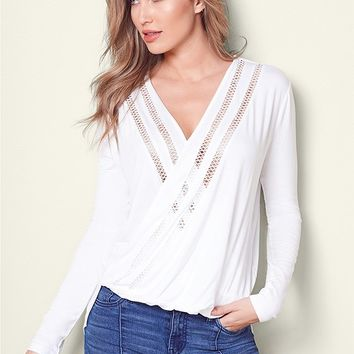 Surplice Long Sleeve Top in Off White | VENUS