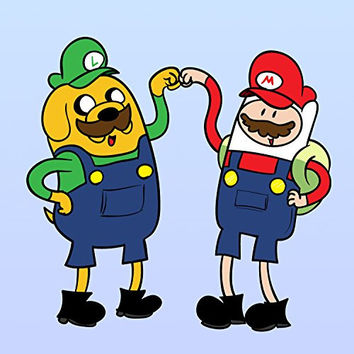 'Plumbing Time' Best Friend Main Characters Funny Video Game & TV Show Cartoon Parody 18x18 - Vinyl Print Poster