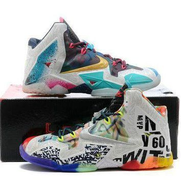 PEAPGE2 Beauty Ticks Nike Lebron Xi Premium Men S Shoes Black Lava/silver Ice-galaxy Blue 650884-400