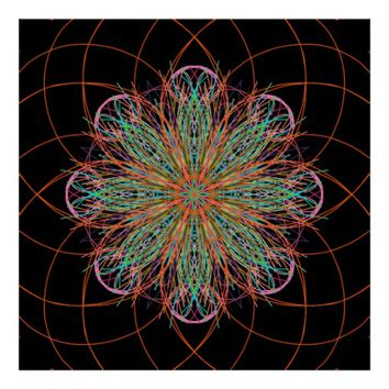 Kaleidoscope Mandala Art Energy Flower Poster