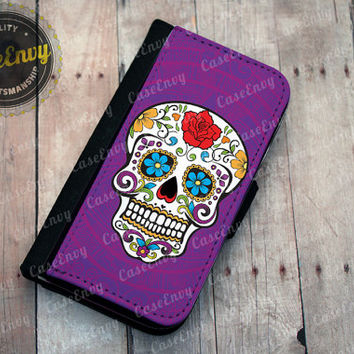 Purple Sugar Skull iPhone 5 / 5s Wallet case